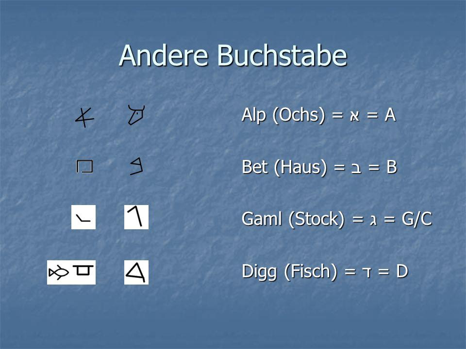 Andere Buchstabe Alp (Ochs) = = A Bet (Haus) = ב = B Gaml (Stock) = ג = G/C Digg (Fisch) = ד = D