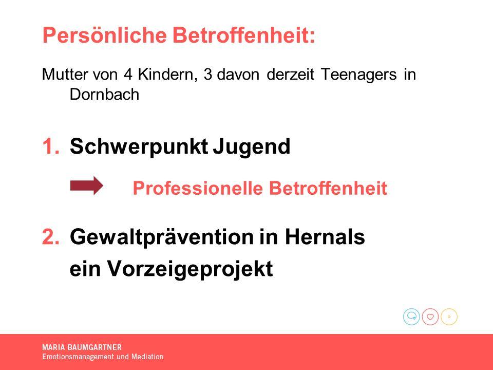 Persönliche Betroffenheit: Mutter von 4 Kindern, 3 davon derzeit Teenagers in Dornbach 1.Schwerpunkt Jugend 2.Gewaltprävention in Hernals ein Vorzeigeprojekt Professionelle Betroffenheit