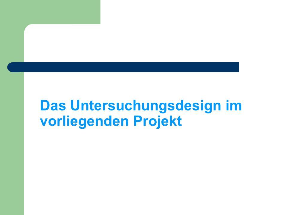 Das Untersuchungsdesign im vorliegenden Projekt