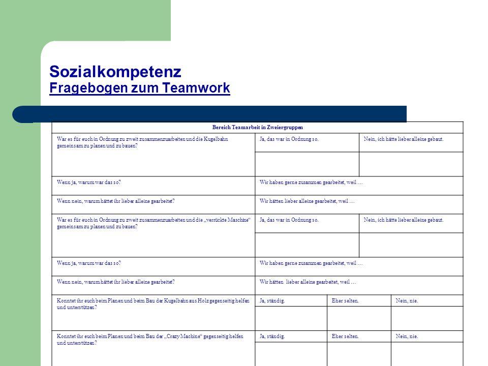Sozialkompetenz Fragebogen zum Teamwork Bereich Teamarbeit in Zweiergruppen War es für euch in Ordnung zu zweit zusammenzuarbeiten und die Kugelbahn g
