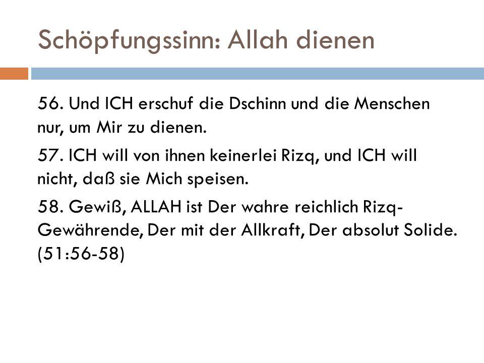 Schöpfungssinn: Allah dienen 56.