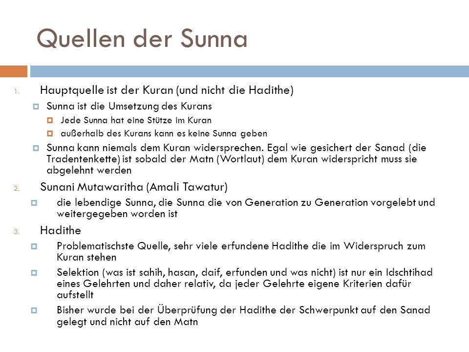 Quellen der Sunna 1. Hauptquelle ist der Kuran (und nicht die Hadithe) Sunna ist die Umsetzung des Kurans Jede Sunna hat eine Stütze im Kuran außerhal