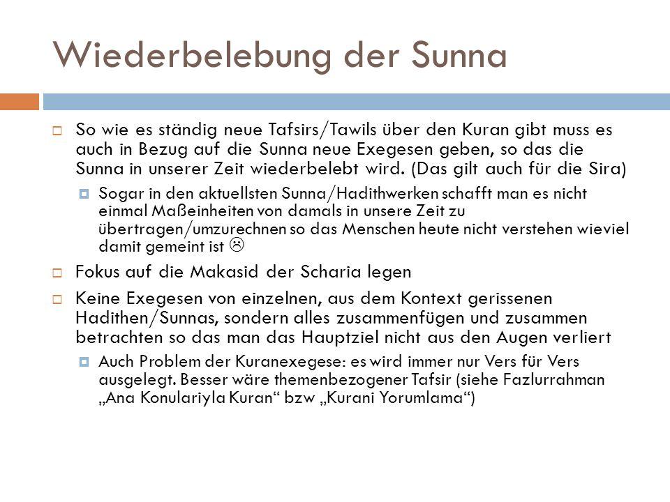 Wiederbelebung der Sunna So wie es ständig neue Tafsirs/Tawils über den Kuran gibt muss es auch in Bezug auf die Sunna neue Exegesen geben, so das die