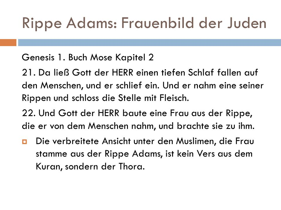 Rippe Adams: Frauenbild der Juden Genesis 1. Buch Mose Kapitel 2 21. Da ließ Gott der HERR einen tiefen Schlaf fallen auf den Menschen, und er schlief