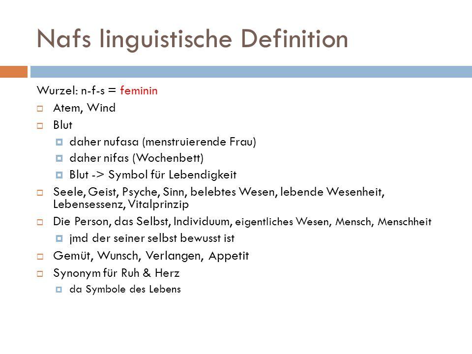 Nafs linguistische Definition Wurzel: n-f-s = feminin Atem, Wind Blut daher nufasa (menstruierende Frau) daher nifas (Wochenbett) Blut -> Symbol für L