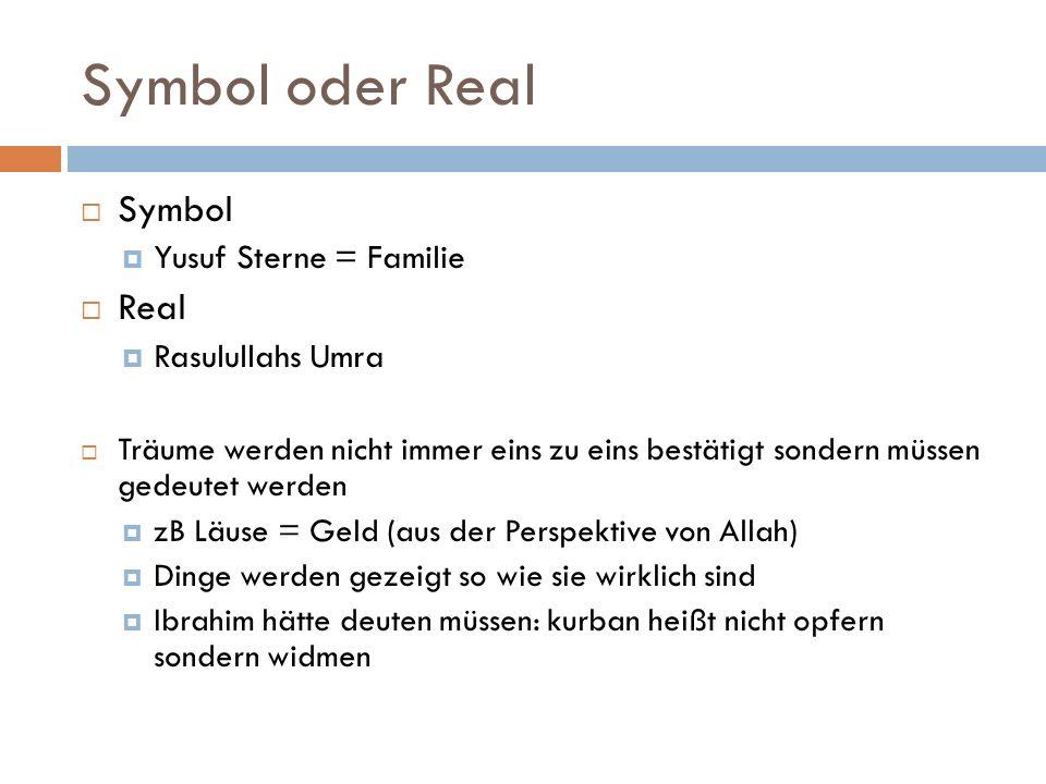 Symbol oder Real Symbol Yusuf Sterne = Familie Real Rasulullahs Umra Träume werden nicht immer eins zu eins bestätigt sondern müssen gedeutet werden zB Läuse = Geld (aus der Perspektive von Allah) Dinge werden gezeigt so wie sie wirklich sind Ibrahim hätte deuten müssen: kurban heißt nicht opfern sondern widmen