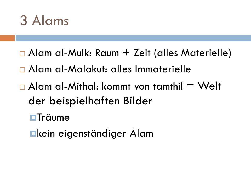3 Alams Alam al-Mulk: Raum + Zeit (alles Materielle) Alam al-Malakut: alles Immaterielle Alam al-Mithal: kommt von tamthil = Welt der beispielhaften Bilder Träume kein eigenständiger Alam