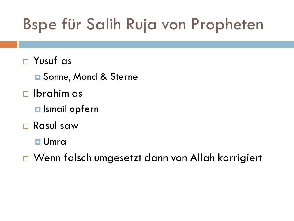 Bspe für Salih Ruja von Propheten Yusuf as Sonne, Mond & Sterne Ibrahim as Ismail opfern Rasul saw Umra Wenn falsch umgesetzt dann von Allah korrigiert