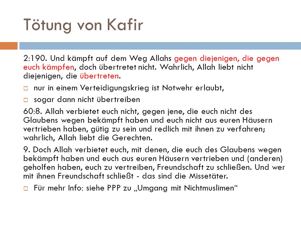 Tötung von Kafir 2:190.