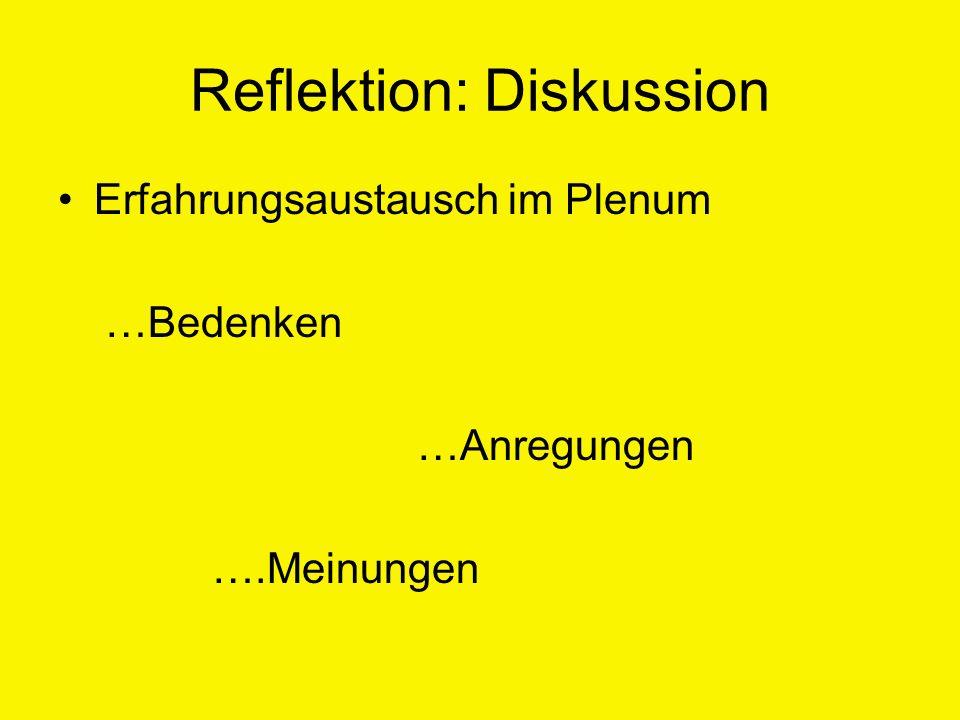 Reflektion: Diskussion Erfahrungsaustausch im Plenum …Bedenken …Anregungen ….Meinungen