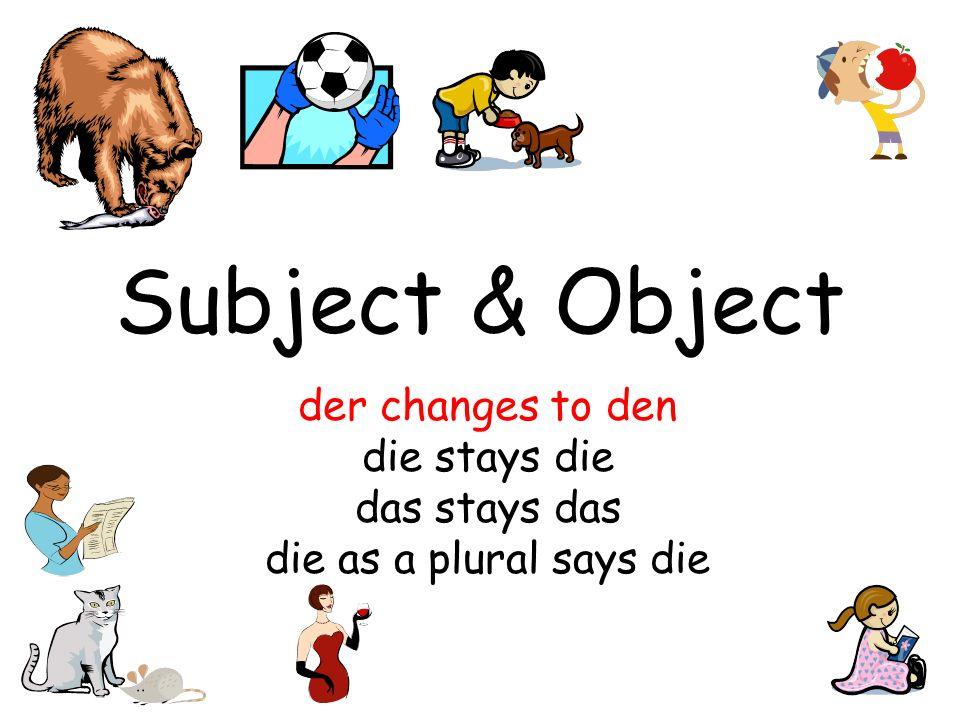 Subject & Object der changes to den die stays die das stays das die as a plural says die