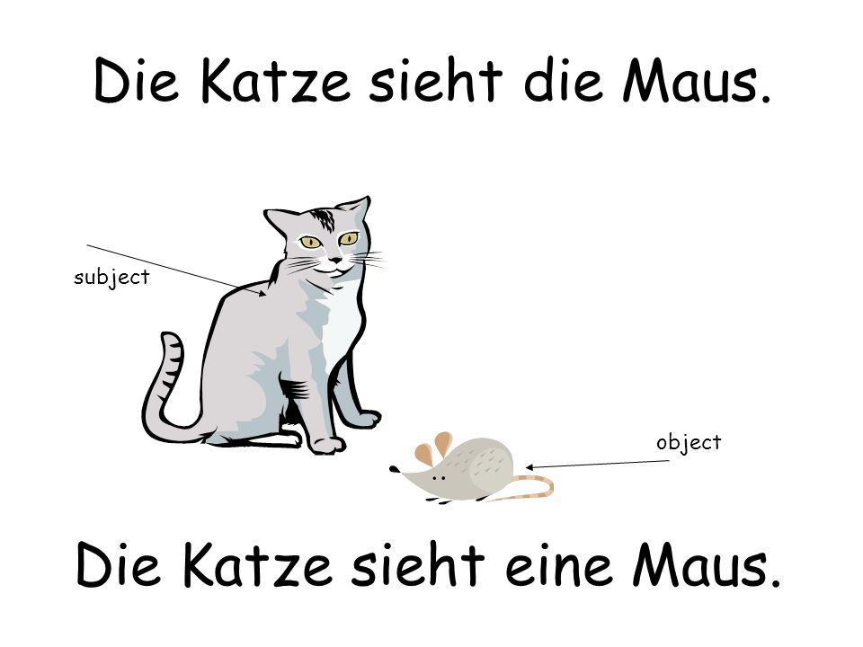 Die Katze sieht die Maus. Die Katze sieht eine Maus. subject object