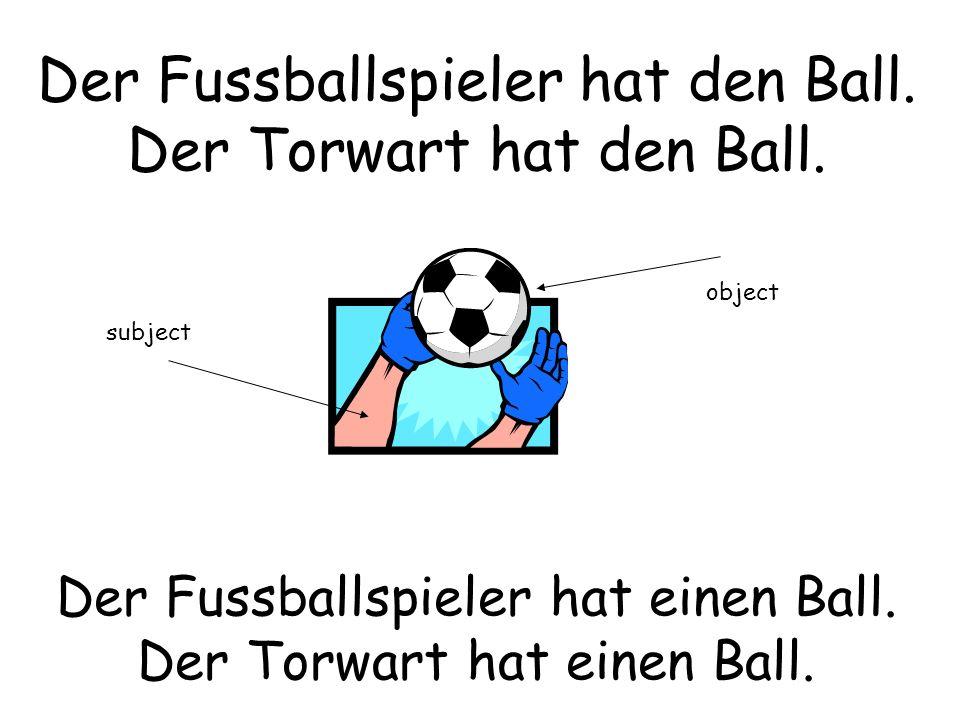 Der Fussballspieler hat den Ball. Der Torwart hat den Ball. Der Fussballspieler hat einen Ball. Der Torwart hat einen Ball. subject object