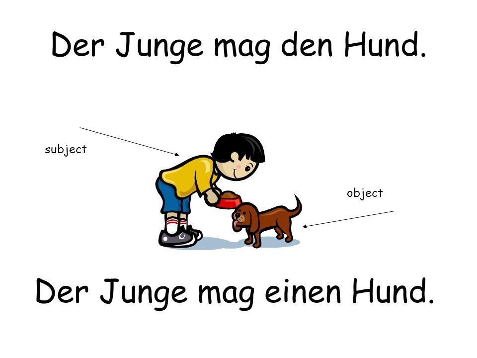 Der Junge mag den Hund. Der Junge mag einen Hund. subject object