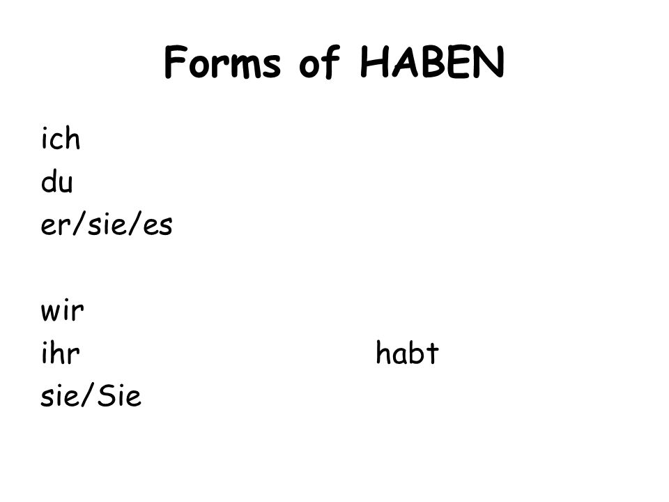 Forms of HABEN ich du er/sie/es wir ihrhabt sie/Sie