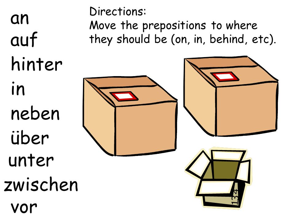 an auf hinter in neben über zwischen vor unter Directions: Move the prepositions to where they should be (on, in, behind, etc).