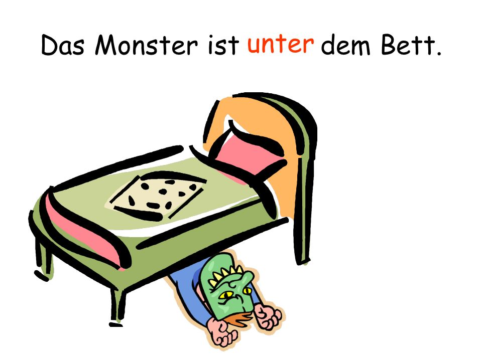 an auf hinter in neben über zwischen vor unter mit für zu aus Directions: match the prepositions (click & drag the German over to the English) behind in next to over under between in front of on top of on with for to/at out/out of