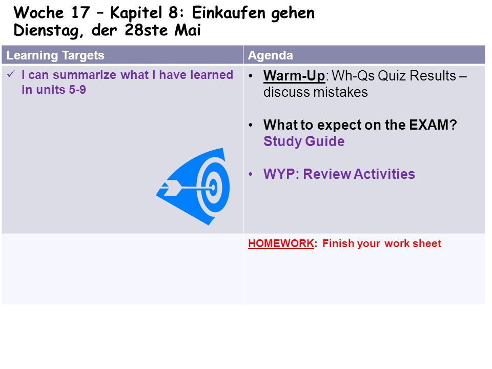 Learning TargetsAgenda I can summarize what I have learned in units 5-9 Warm-Up: Wh-Qs Quiz Results – discuss mistakes What to expect on the EXAM.