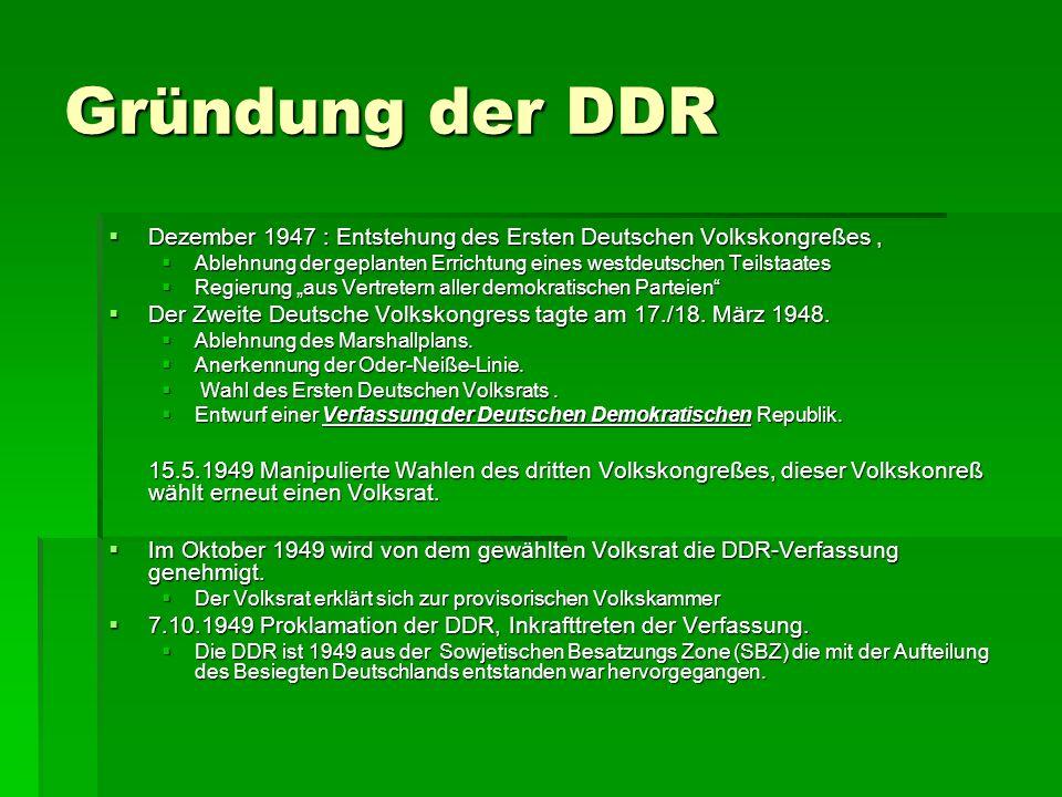 Gründung der DDR Dezember 1947 : Entstehung des Ersten Deutschen Volkskongreßes, Dezember 1947 : Entstehung des Ersten Deutschen Volkskongreßes, Ableh