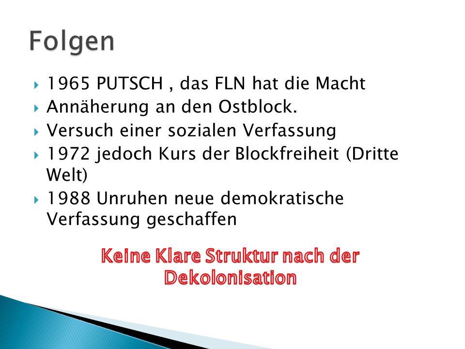 1965 PUTSCH, das FLN hat die Macht Annäherung an den Ostblock. Versuch einer sozialen Verfassung 1972 jedoch Kurs der Blockfreiheit (Dritte Welt) 1988