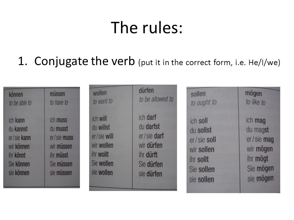 The rules: 1.Conjugate the verb (put it in the correct form, i.e. He/I/we)