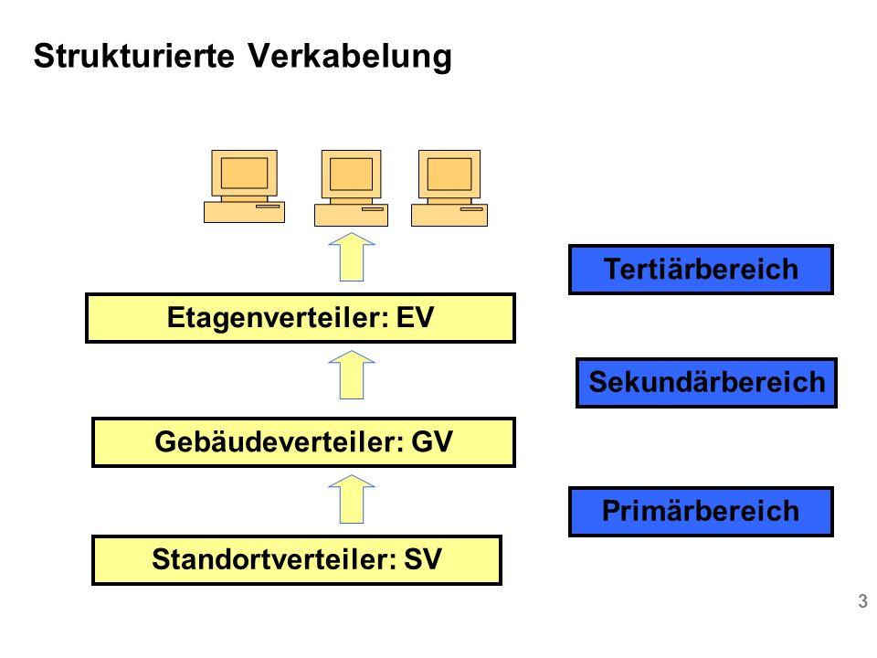 3 Strukturierte Verkabelung Standortverteiler: SV Gebäudeverteiler: GV Etagenverteiler: EV Primärbereich Sekundärbereich Tertiärbereich