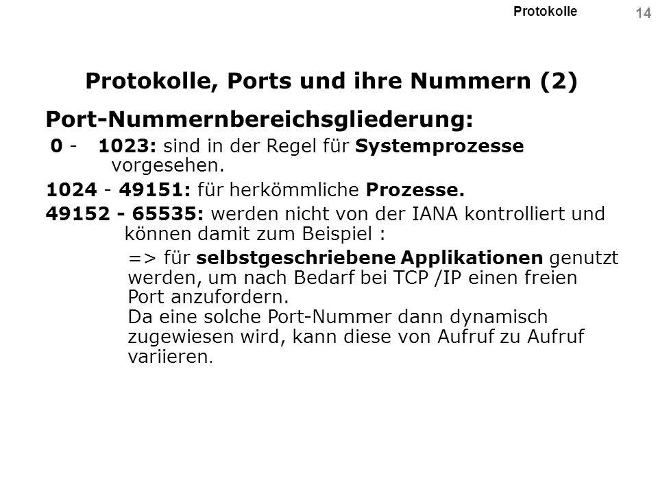 Protokolle 14 Protokolle, Ports und ihre Nummern (2) Port-Nummernbereichsgliederung: 0 - 1023: sind in der Regel für Systemprozesse vorgesehen. 1024 -