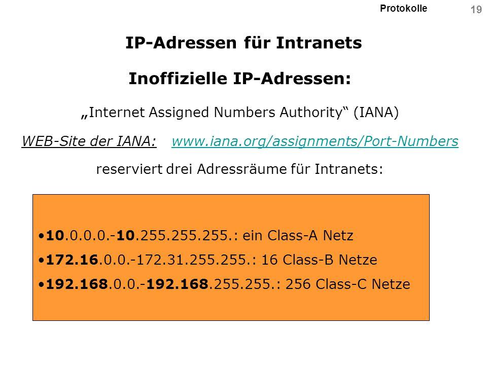 Protokolle 19 IP-Adressen für Intranets Inoffizielle IP-Adressen: Internet Assigned Numbers Authority (IANA) WEB-Site der IANA: www.iana.org/assignmen