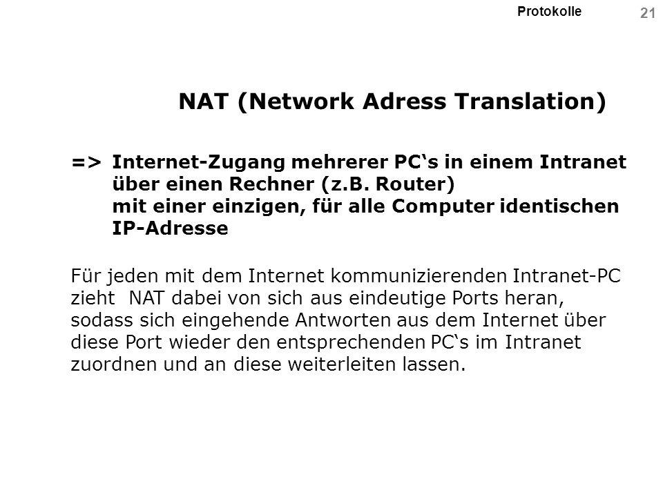 Protokolle 21 NAT (Network Adress Translation) =>Internet-Zugang mehrerer PCs in einem Intranet über einen Rechner (z.B. Router) mit einer einzigen, f
