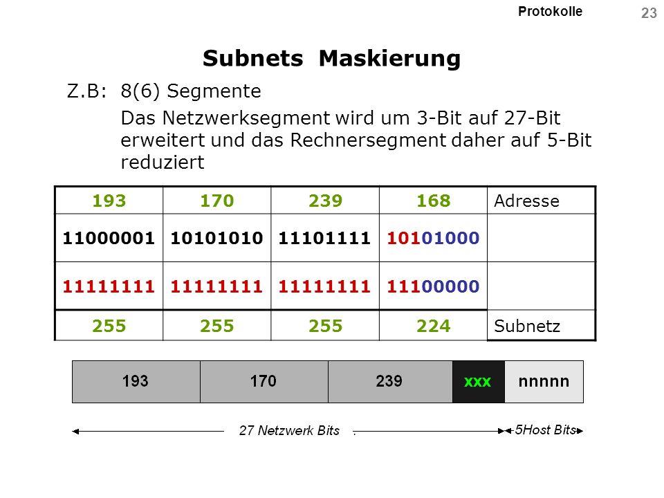 Protokolle 23 Subnets Maskierung Z.B: 8(6) Segmente Das Netzwerksegment wird um 3-Bit auf 27-Bit erweitert und das Rechnersegment daher auf 5-Bit redu