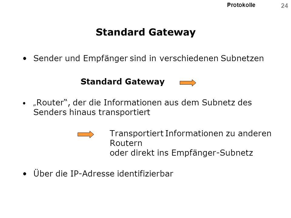 Protokolle 24 Standard Gateway Sender und Empfänger sind in verschiedenen Subnetzen Standard Gateway Router, der die Informationen aus dem Subnetz des