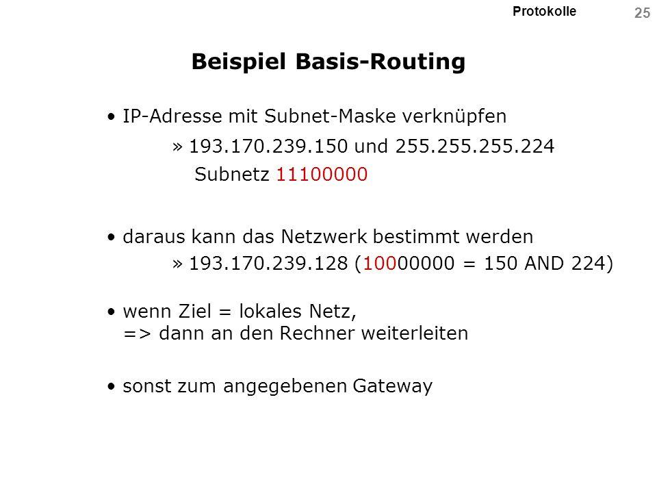 Protokolle 25 Beispiel Basis-Routing IP-Adresse mit Subnet-Maske verknüpfen »193.170.239.150 und 255.255.255.224 Subnetz 11100000 daraus kann das Netz