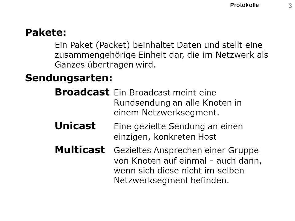 3 Pakete: Ein Paket (Packet) beinhaltet Daten und stellt eine zusammengehörige Einheit dar, die im Netzwerk als Ganzes übertragen wird. Sendungsarten: