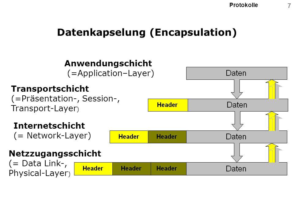 Protokolle 18 Reservierte IP-Adressen Loopback oder Localhost: = das Gerät selbst => 127.0.0.1 Netzwerknummer des Segments: => alle Bits der HOST-Nummer sind 0 Alle Hosts – dieses Netzwerksegmentes: = Broadcast => alle Bits der HOST-Nummer sind 1