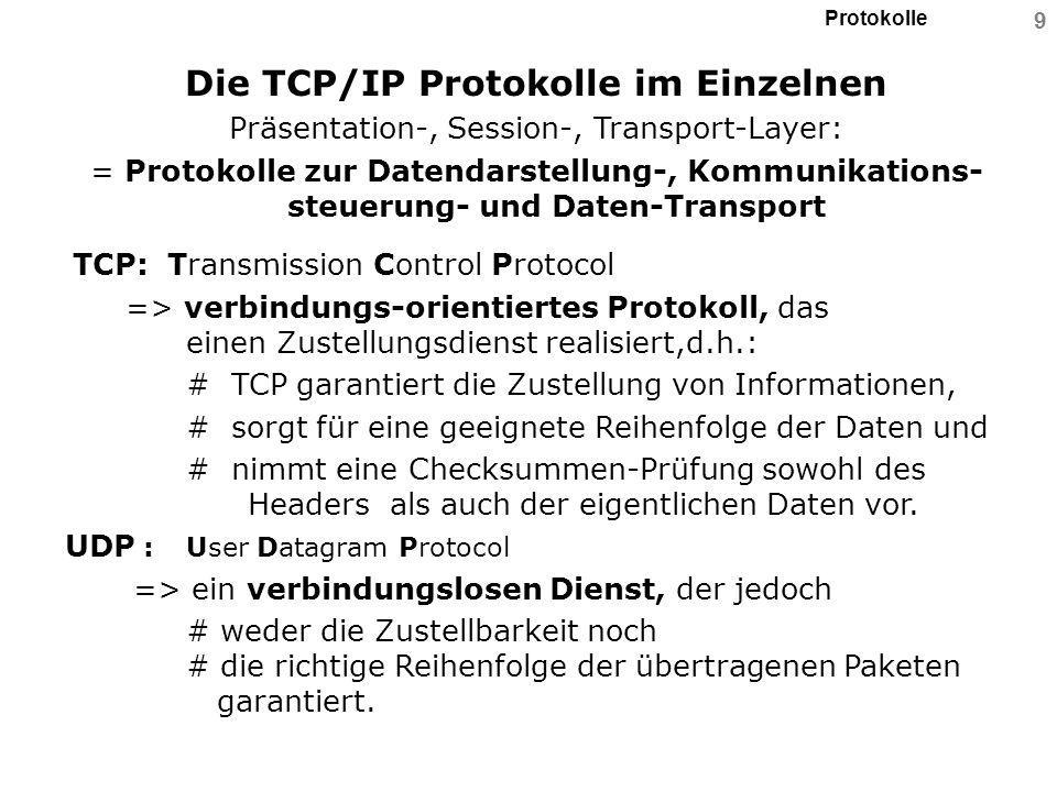 Protokolle 10 Die TCP/IP Protokolle im Einzelnen =Protokolle für Routing in IP-Umgebungen: RIP: Routing Information Protocol => basiert auf dem Entfernungsvektor-Verfahren und erlaubt es einem Router, ein dynamisches Routing durchzuführen, d.h.: # durch RIP lernt der IP-Router automatisch, in welche Netzwerksegmente er eingebunden ist.