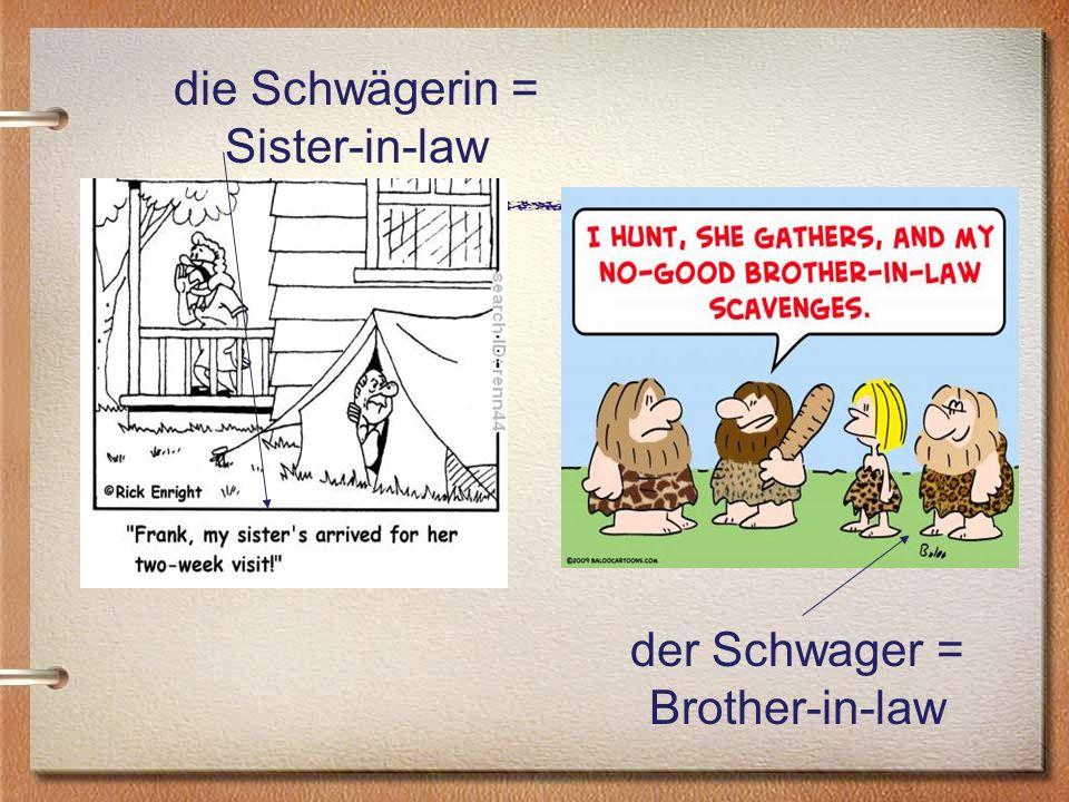 die Schwägerin = Sister-in-law der Schwager = Brother-in-law