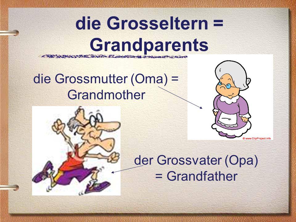 die Grosseltern = Grandparents die Grossmutter (Oma) = Grandmother der Grossvater (Opa) = Grandfather