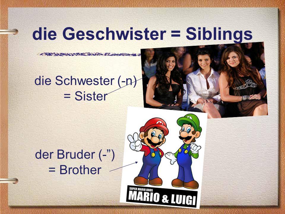 die Geschwister = Siblings die Schwester (-n) = Sister der Bruder (-) = Brother