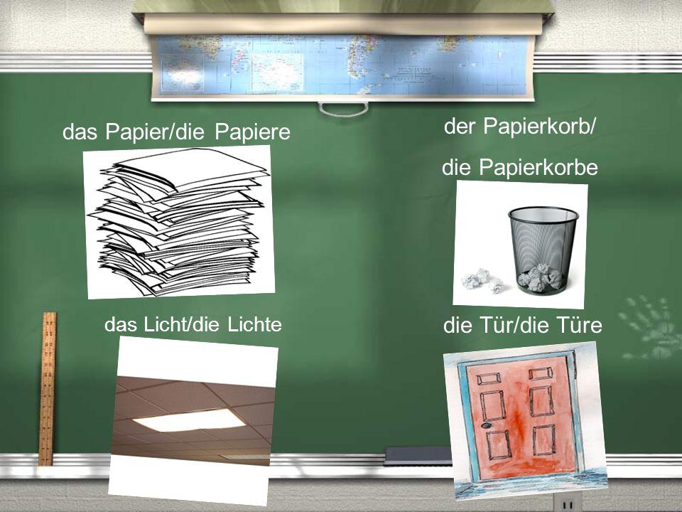 das Papier/die Papiere die Tür/die Türe der Papierkorb/ die Papierkorbe das Licht/die Lichte