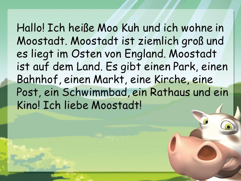 Hallo! Ich heiße Moo Kuh und ich wohne in Moostadt. Moostadt ist ziemlich groß und es liegt im Osten von England. Moostadt ist auf dem Land. Es gibt e