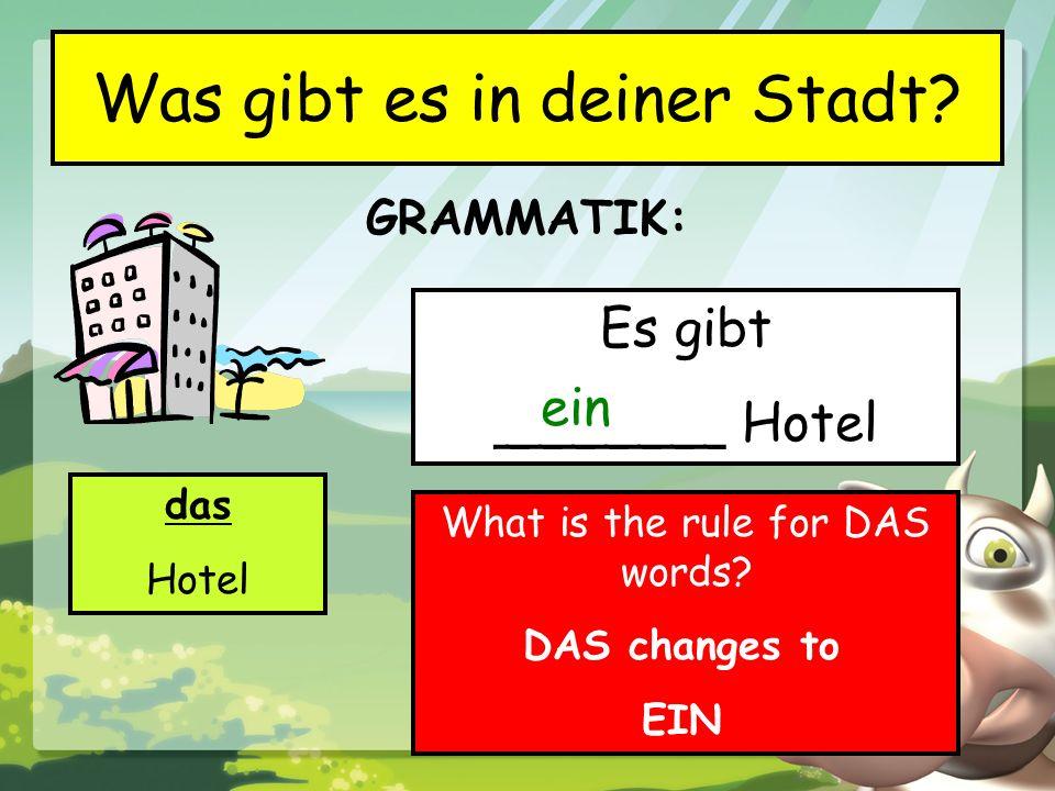 GRAMMATIK: Was gibt es in deiner Stadt? das Hotel Es gibt _______ Hotel ein What is the rule for DAS words? DAS changes to EIN