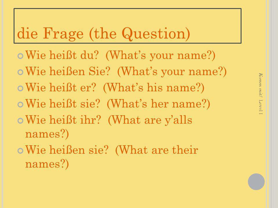 die Frage (the Question) Wie heißt du.(Whats your name?) Wie heißen Sie.