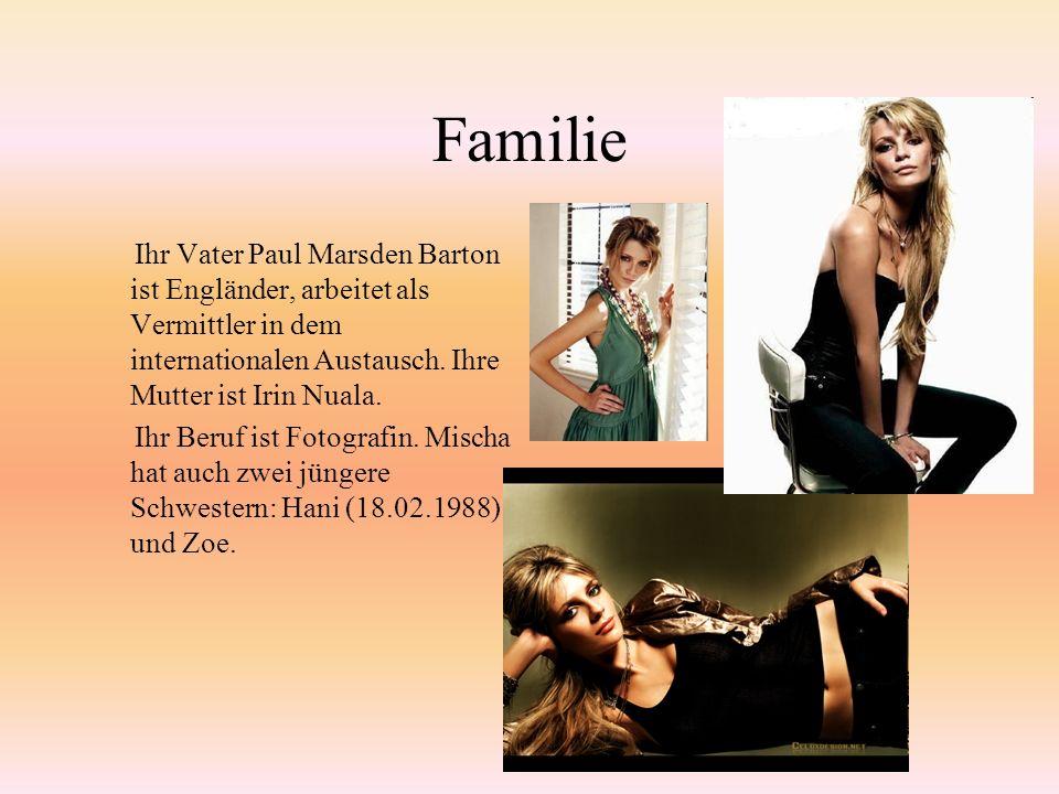 Familie Ihr Vater Paul Marsden Barton ist Engländer, arbeitet als Vermittler in dem internationalen Austausch.