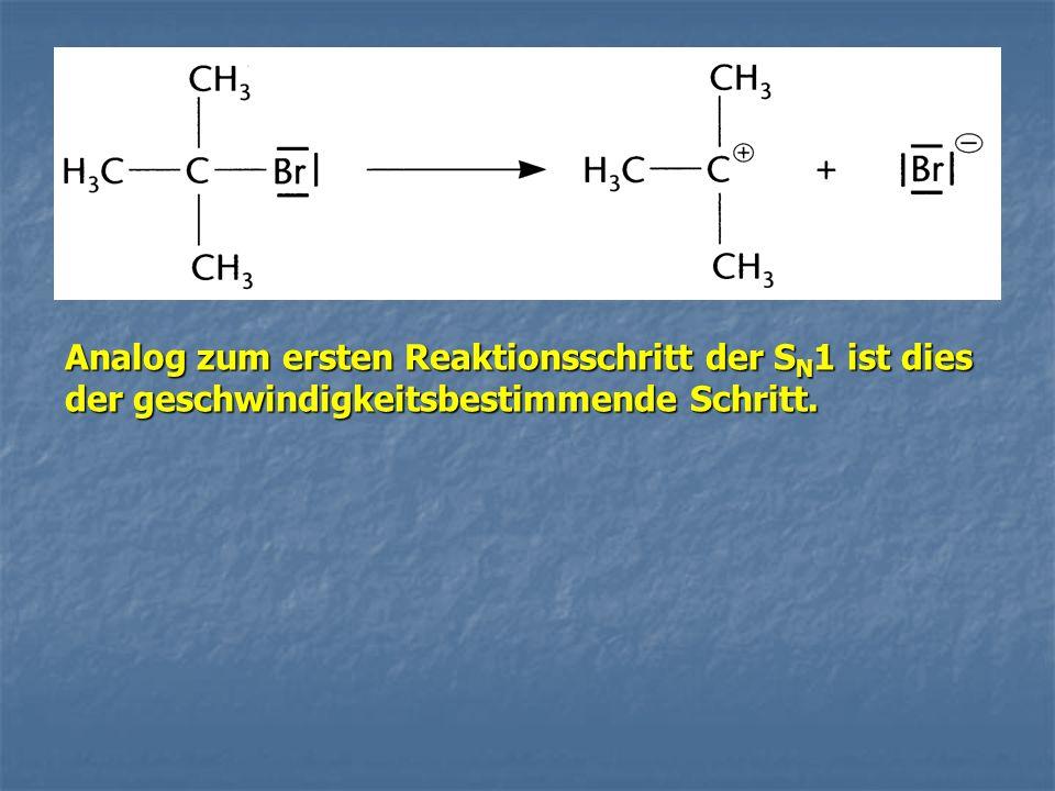 Analog zum ersten Reaktionsschritt der S N 1 ist dies der geschwindigkeitsbestimmende Schritt.