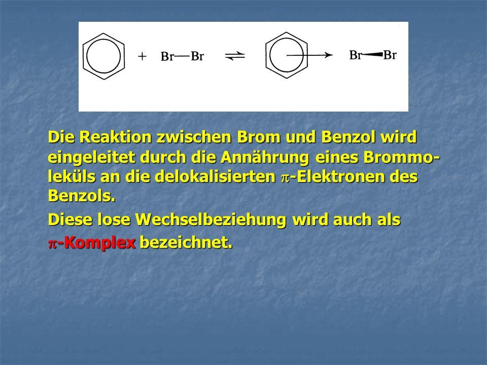 Die Reaktion zwischen Brom und Benzol wird eingeleitet durch die Annährung eines Brommo- leküls an die delokalisierten -Elektronen des Benzols. Diese