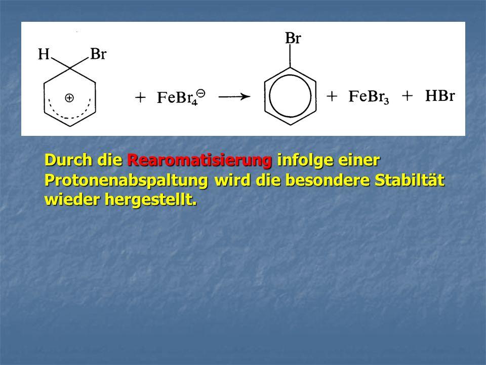 Durch die Rearomatisierung infolge einer Protonenabspaltung wird die besondere Stabiltät wieder hergestellt.