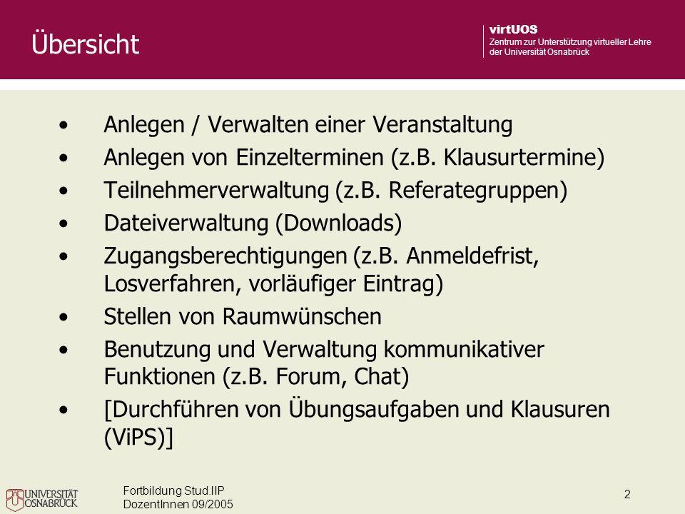 Fortbildung Stud.lIP DozentInnen 09/2005 2 virtUOS Zentrum zur Unterstützung virtueller Lehre der Universität Osnabrück Übersicht Anlegen / Verwalten