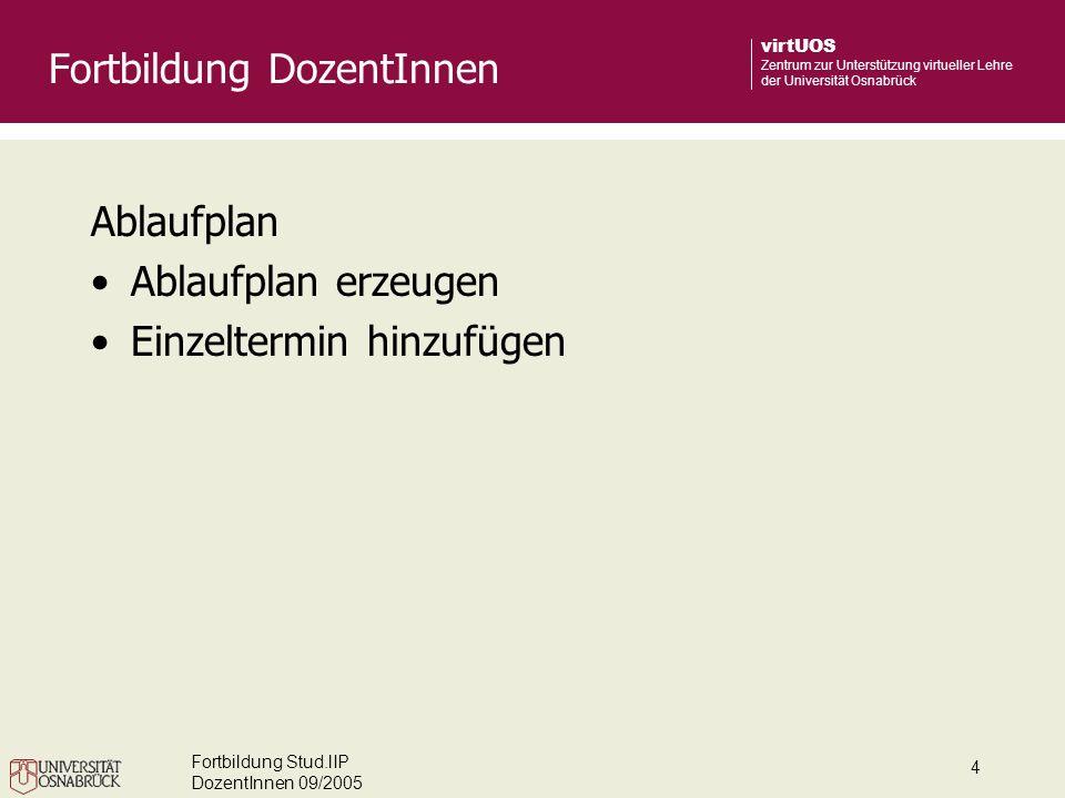 Fortbildung Stud.lIP DozentInnen 09/2005 5 virtUOS Zentrum zur Unterstützung virtueller Lehre der Universität Osnabrück Teilnehmerverwaltung Studierende in Veranstaltung eintragen Gruppen einrichten Studierende den Gruppen zuweisen Nachricht an einzelne Gruppen schicken Fortbildung DozentInnen