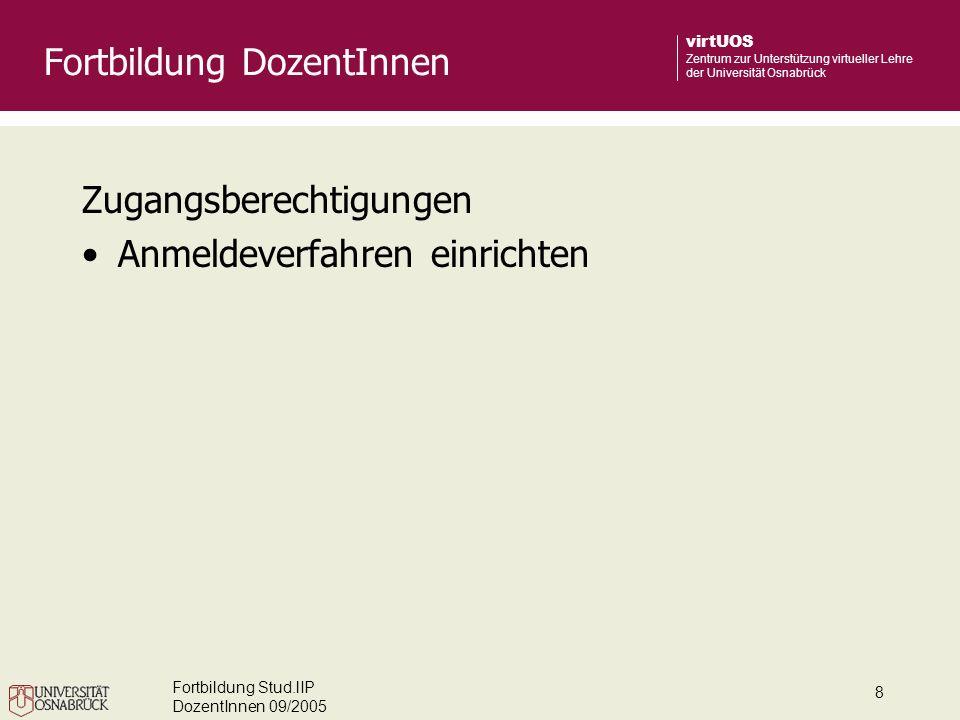 Fortbildung Stud.lIP DozentInnen 09/2005 8 virtUOS Zentrum zur Unterstützung virtueller Lehre der Universität Osnabrück Zugangsberechtigungen Anmeldev