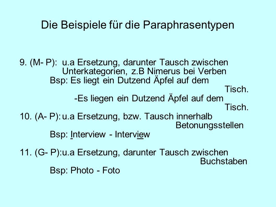 Die Beispiele für die Paraphrasentypen 9. (M- P):u.a Ersetzung, darunter Tausch zwischen Unterkategorien, z.B Nimerus bei Verben Bsp: Es liegt ein Dut